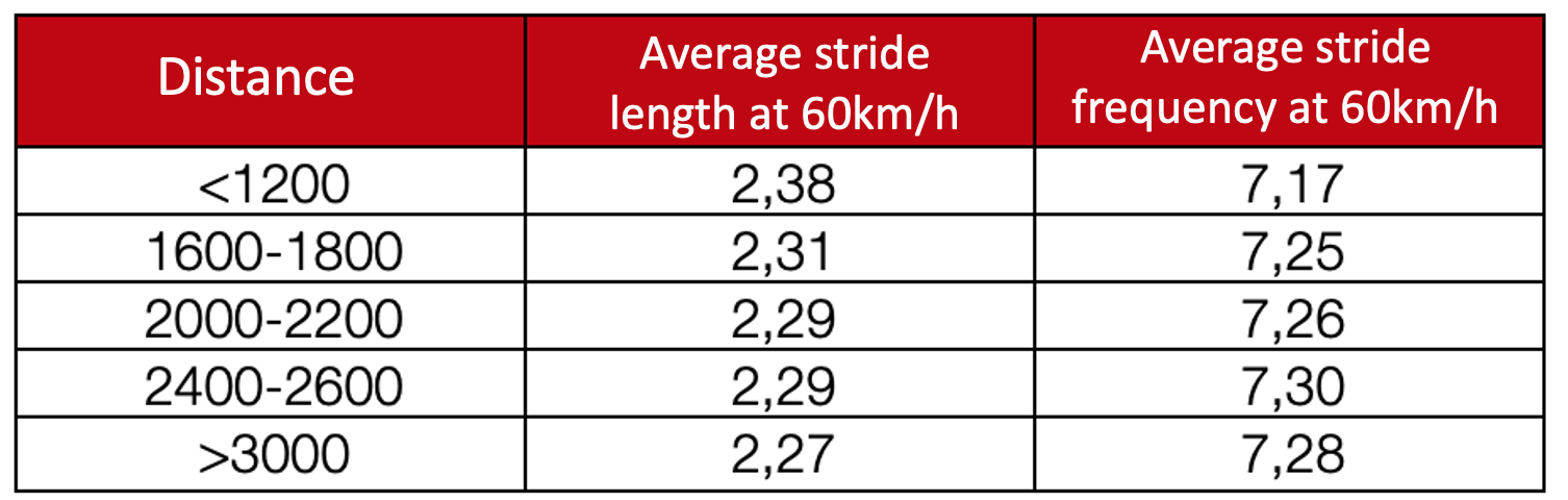 average stride frequency & length